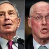 Photo - This combo made from file photos shows former New York City Mayor Michael Bloomberg, left, and former Treasury Secretary Henry Paulson. Climate change will exact enormous costs on U.S. regional economies in the form of lost property, reduced industrial output and higher health expenses, according to a report backed by Bloomberg, Paulson and Thomas F. Steyer, a former hedge fund manager. (AP Photo/Bebeto Matthews, Pablo Martinez Monsivais, File)