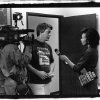 In this 1992 photo, retailer Joe Field is being interviewed about the death of Superman by Faith Fancher for the KTVU-Channel 2 News. The photo was taken by Capital City Distribution truck driver Oscar Benjamin, who is now a professional photographer.