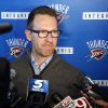 Photo - Oklahoma City Thunder general manager Sam Presti answers questions at a news conference in Oklahoma City, Friday, April 26, 2013. All-Star point guard Russell Westbrook will have surgery to repair cartilage in his right knee and be out indefinitely, dealing a harsh blow to the Thunder's championship chances. (AP Photo/Sue Ogrocki) ORG XMIT: OKSO104