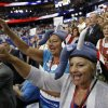 Christina Ramirez, right and Barbara Dawson, both from Morristown, N.J., wear elephant hats as they cheer during the Republican National Convention in Tampa, Fla., on Thursday, Aug. 30, 2012. (AP Photo/Patrick Semansky) ORG XMIT: RNC746