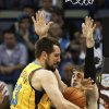 New Orleans Hornets forward Ryan Anderson (33) loses the ball as Minnesota Timberwolves guard Alexey Shved (1) defends in the first half of an NBA basketball game in New Orleans, Friday, Jan. 11, 2013. (AP Photo/Bill Haber)