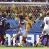 Photo - Germany's Mats Hummels, centrer, scores the opening goal during the World Cup quarterfinal soccer match between Germany and France at the Maracana Stadium in Rio de Janeiro, Brazil, Friday, July 4, 2014. (AP Photo/Martin Meissner)