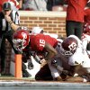 Oklahoma\'s Jaz Reynolds (16) scores a touchdown in front of Texas A&M\'s Toney Hurd Jr. (4) during the college football game between the Texas A&M Aggies and the University of Oklahoma Sooners (OU) at Gaylord Family-Oklahoma Memorial Stadium on Saturday, Nov. 5, 2011, in Norman, Okla. Oklahoma won 41-25. Photo by Bryan Terry, The Oklahoman ORG XMIT: KOD