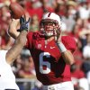 Photo -   Stanford quarterback Josh Nunes throws under pressure from Arizona during the second half of an NCAA college football game in Stanford, Calif., Saturday, Oct. 6, 2012. (AP Photo/George Nikitin)