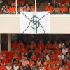A banner painted to look like an envelope with money hangs from a suite during a college football game between the Oklahoma State University Cowboys (OSU) and the Lamar University Cardinals at Boone Pickens Stadium in Stillwater, Okla., Saturday, Sept. 14, 2013. Photo by Nate Billings, The Oklahoman