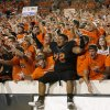 Oklahoma State\'s Christian Littlehead celebrats with fans after the Cowboys beat Arizona 37-14 on Thursday. PHOTO BY BRYAN TERRY, The Oklahoman