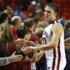 Oklahoma Sooner\'s Ryan Spangler (00) greets fans after the buzzer as the University of Oklahoma Sooners (OU) men defeat the Iowa State Cyclones (ISU) 87-82 in NCAA, college basketball at The Lloyd Noble Center on Saturday, Jan. 11, 2014 in Norman, Okla. Photo by Steve Sisney, The Oklahoman
