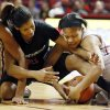 Cal State Northridge\'s Jianni Jackson (21) and Oklahoma\'s Portia Durrett (31) battle for the ball in the second half during a women\'s college basketball game between the University of Oklahoma (OU) and Cal State Northridge at the Lloyd Noble Center in Norman, Okla., Saturday, Dec. 29, 2012. OU won, 79-57. Photo by Nate Billings, The Oklahoman
