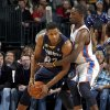 Oklahoma City\'s Jeff Green (22) defends Memphis\' Rudy Gay during the NBA basketball game between the Oklahoma City Thunder and the Memphis Grizzlies, Saturday, Jan. 8, 2011, at the Oklahoma City Arena. Photo by Sarah Phipps, The Oklahoman