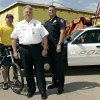 Yukon Police Chief Gary Wieczorek (center) poses with Cpl. Scott Franklin (right) and Sgt. Matt Fairchild in front of their new building, which is under construction, in Yukon on Wednesday, June 4, 2008. By John Clanton, The Oklahoman