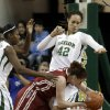 Oklahoma\'s Joanna McFarland, bottom, is stopped by Baylor\'s Brittney Griner (42) and Odyssey Sims during the first half of an NCAA basketball game Saturday, Jan. 26, 2013, in Waco Texas. Baylor won 82-65. (AP Photo/LM Otero) ORG XMIT: TXMO113
