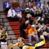 Arnett\'s Jason Johnson throws up a shot as he flies through the air against Fargo in first round of the Class B state basketball tournament at Carl Albert in Midwest City, Thursday, March 1, 2012. Photo by Bryan Terry, The Oklahoman