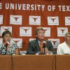 Texas officials speak during a news conference Tuesday, June 15, 2010, in Austin, Texas, about the university staying in the Big 12. From left are women\'s athletic director Chris Plonsky, university president William Powers Jr. men\'s athletic director DeLoss Dodds. (AP Photo/Austin American-Statesman, Laura Skelding) ** MAGS OUT NO SALES TV OUT INTERNET: AP MEMBER NEWSPAPERS ONLY ** ORG XMIT: TXAUS205