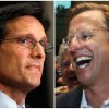 Photo - In this combination of Associated Press photos, House Majority Leader Eric Cantor, R-Va., left, and Dave Brat, right, react after the polls close Tuesday, June 10, 2014, in Richmond, Va. Brat defeated Cantor in the Republican primary. (AP Photo)
