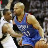 Oklahoma City\'s Derek Fisher (37) goes past San Antonio\'s Gary Neal (14) during Game 5 of the Western Conference Finals between the Oklahoma City Thunder and the San Antonio Spurs in the NBA basketball playoffs at the AT&T Center in San Antonio, Monday, June 4, 2012. Photo by Nate Billings, The Oklahoman