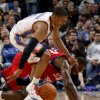 Oklahoma City\'s Russell Westbrook and Philadelphia\'s Elton Brand go for the ball during the NBA basketball game between the Oklahoma City Thunder and the Philadelphia 76ers at the Oklahoma City Arena on Wednesday, Nov. 10, 2010. Photo by Bryan Terry, The Oklahoman ORG XMIT: KOD