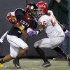 East Central\'s Deontre Youngblood (3) runs past Carl Albert\'s Dillon Lohr (26) during the Class 5A Oklahoma state championship football game between Carl Albert High School and Tulsa East Central High School at Boone Pickens Stadium on Saturday, Dec. 1, 2012, in Stillwater, Okla. Photo by Chris Landsberger, The Oklahoman