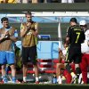 Photo - Spanish players applaud as Spain's David Villa (7), is substituted during the group B World Cup soccer match between Australia and Spain at the Arena da Baixada in Curitiba, Brazil, Monday, June 23, 2014.