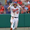 Clemson\'s Steve Wilkerson reacts after a ball hit down the first-base line was called foul by umpire David Brown during an NCAA college baseball game against South Carolina on Sunday, Mar. 2, 2014 in Clemson, S.C. (AP Photo/Anderson Independent-Mail, Mark Crammer) GREENVILLE NEWS OUT; SENECA JOURNAL OUT