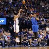 Oklahoma City\'s Derek Fisher (6) shoots over Dallas\' Shawn Marion (0) during the NBA basketball game between the Oklahoma City Thunder and the Dallas Mavericks at Chesapeake Energy Arena in Oklahoma City, Okla. on Wednesday, Nov. 6, 2013. Photo by Chris Landsberger, The Oklahoman