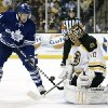 Toronto Maple Leafs\' Nikolai Kulemin looks for a rebound in front of Boston Bruins goalie Tuukka Rask of Finland during the first period of an NHL hockey game in Boston on Monday, March 25, 2013. (AP Photo/Winslow Townson)