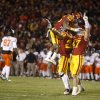 CELEBRATION: Iowa State\'s Leonard Johnson (23), Ter\'Ran Benton (22), and A.J. Klein (47) celebrate after an interception in the second overtime of a college football game between the Oklahoma State University Cowboys (OSU) and the Iowa State University Cyclones (ISU) at Jack Trice Stadium in Ames, Iowa, Friday, Nov. 18, 2011. Photo by Bryan Terry, The Oklahoman