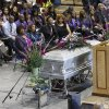 Delivering the eulogy for his dad is Minister Fred Carter. About 400 family and friends gathered inside the Millwood High School Fieldhouse on Tuesday, Sep, 25, 2012, to honor the life and say farewell to Joseph D. Carter, Sr. at a funeral service that was sentimental and touching, but also full of joy and laughter. Carter is survived by a wife and their 11 children as well as 46 grandchildren, 35 great-grandchildren and 10 great-great-grandchildren. Photo by Jim Beckel, The Oklahoman.