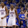 Oklahoma City\'s Kevin Durant (35) and Serge Ibaka (9) react as Memphis\' Marc Gasol watches during Game 2 in the second round of the NBA playoffs between the Oklahoma City Thunder and the Memphis Grizzlies at Chesapeake Energy Arena in Oklahoma City, Tuesday, May 7, 2013. Oklahoma City lost 99-93. Photo by Bryan Terry, The Oklahoman