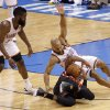 Oklahoma City\'s Derek Fisher (37) and Oklahoma City\'s James Harden (13) got after a loose ball with Miami\'s Dwyane Wade (3) during Game 2 of the NBA Finals between the Oklahoma City Thunder and the Miami Heat at Chesapeake Energy Arena in Oklahoma City, Thursday, June 14, 2012. Photo by Chris Landsberger, The Oklahoman