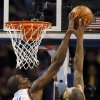 Oklahoma City\'s Serge Ibaka (9) blocks the shot of New York\'s Tyson Chandler (6) during an NBA basketball game between the New York Knicks and the Oklahoma City Thunder at Chesapeake Energy Arena in Oklahoma City, Sunday, Feb. 9, 2014. Photo by Nate Billings, The Oklahoman