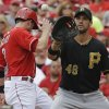 Cincinnati Reds\' Zack Cozart,left, returns safely to first base as Pittsburgh Pirates first baseman Garrett Jones catches a pickoff throw from starting pitcher Jeff Locke in the fifth inning of a baseball game on Sunday, July 21, 2013, in Cincinnati. (AP Photo/Al Behrman)