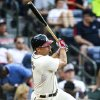Photo -   Atlanta Braves' Reed Johnson (11) hits a two-RBI double in the sixth inning of a baseball game against the Philadelphia Phillies, Sunday, Sept. 2, 2012, in Atlanta. (AP Photo/Daniel Shirey)