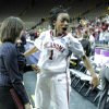Nyeshia Stevenson celebrates as the University of Oklahoma (OU) defeats Georgia Tech 69-50 in round two of the 2009 NCAA Division I Women\'s Basketball Tournament at Carver-Hawkeye Arena at the University of Iowa in Iowa City, IA on Tuesday, March 24, 2009. PHOTO BY STEVE SISNEY, THE OKLAHOMA
