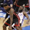 Oklahoma City\'s James Harden (13) tries to defend on Miami\'s LeBron James (6) during Game 2 of the NBA Finals between the Oklahoma City Thunder and the Miami Heat at Chesapeake Energy Arena in Oklahoma City, Thursday, June 14, 2012. Photo by Chris Landsberger, The Oklahoman