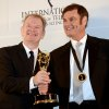 Australians Zane Bair, left, and Michael McKay after winning the Non-Scripted Entertainment award for