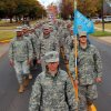 Soldiers march down Jenkins Avenue during the Veterans Day parade in Norman Sunday. PHOTO BY HUGH SCOTT FOR THE OKLAHOMAN ORG XMIT: KOD