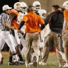 Head coach Mike Gundy complains to the officials that Zac Robinson was hog collared during the college football game between the Oklahoma State University Cowboys (OSU) and the University of Texas Longhorns (UT) at Boone Pickens Stadium in Stillwater, Okla., Saturday, Oct. 31, 2009. Photo by Doug Hoke, The Oklahoman