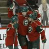 Photo - Minnesota Wild left wing Jason Zucker, left, and defenseman Jared Spurgeon, right, congratulate left wing Dany Heatley, center, after his goal on Tampa Bay Lightning goalie Ben Bishop during the third period of an NHL hockey game in St. Paul, Minn., Tuesday, Feb. 4, 2014. The Wild won 2-1. (AP Photo/Ann Heisenfelt)