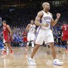 Oklahoma City\'s Derek Fisher (37) reacts after hitting a shot during Game 1 of the NBA Finals between the Oklahoma City Thunder and the Miami Heat at Chesapeake Energy Arena in Oklahoma City, Tuesday, June 12, 2012. Photo by Chris Landsberger, The Oklahoman