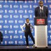 Photo - Miami Heat's LeBron James speaks as his sons Bryce, left, and LeBron Jr., stand by during an NBA basketball news conference, Sunday, May, 5, 2013, in Miami. James was formally announced as having won his fourth Most Valuable Player award Sunday. (AP Photo/J Pat Carter)
