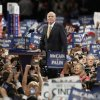 Photo - Republican presidential candidate John McCain is seen on stage before addressing the Republican National Convention in St. Paul, Minn., Thursday, Sept. 4, 2008. (AP Photo/Charlie Neibergall) ORG XMIT: MNDC160