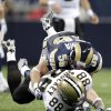 FILE - In this Nov. 15, 2009 file photo, New Orleans Saints tight end Jeremy Shockey (88) after Shockey fumbles the ball after he was hit by St. Louis Rams linebacker David Vobora (58) during the first quarter of an NFL football game in St. Louis.