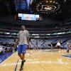 Oklahoma City\'s Kevin Durant warms up before game 2 of the Western Conference Finals in the NBA basketball playoffs between the Dallas Mavericks and the Oklahoma City Thunder at American Airlines Center in Dallas, Thursday, May 19, 2011. Photo by Bryan Terry, The Oklahoman