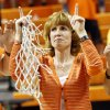 Shelley Budke, widow of OSU head coach Kurt Budke, points up at the end of the singing of the alma mater after the OSU Cowgirls won the Women\'s NIT championship college basketball game between Oklahoma State University and James Madison at Gallagher-Iba Arena in Stillwater, Okla., Saturday, March 31, 2012. Kurt Budke and three others were killed in a plane crash on a recruiting trip in November of 2011. OSU won, 75-68. Photo by Nate Billings, The Oklahoman