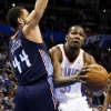Oklahoma City\'s Kevin Durant (35) works against Charlotte\'s Jeffery Taylor (44) during an NBA basketball game between the Oklahoma City Thunder and Charlotte Bobcats at Chesapeake Energy Arena in Oklahoma City, Monday, Nov. 26, 2012. Photo by Nate Billings , The Oklahoman