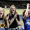 From left to right Gracie Petty, 12, Shelby Petty and Brooke Scheer, 14, cheer during the Class B girl\'s semi final game between Lomega and Balko at the State Fair Arena in Oklahoma City, Friday, March 2, 2012. Photo by Sarah Phipps, The Oklahoman