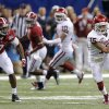 Oklahoma\'s Zack Sanchez (15) makes an interception on a pass for Alabama\'s Amari Cooper (9) during the NCAA football BCS Sugar Bowl game between the University of Oklahoma Sooners (OU) and the University of Alabama Crimson Tide (UA) at the Superdome in New Orleans, La., Thursday, Jan. 2, 2014. .Photo by Chris Landsberger, The Oklahoman