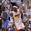 The crowd reacts after Miami\'s LeBron James (6) made a basket as Oklahoma City\'s Kendrick Perkins (5) watches during Game 3 of the NBA Finals between the Oklahoma City Thunder and the Miami Heat at American Airlines Arena, Sunday, June 17, 2012. Photo by Bryan Terry, The Oklahoman