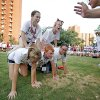 Students form a human pyramid during a relay race for Camp Crimson, OU\'s freshman orientation program, Friday, July 17, 2009, at the University of Oklahoma in Norman. Photo by Bryan Terry, The Oklahoman