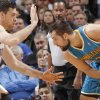 Oklahoma City Thunder\'s Nick Collison (4) defends on New Orleans Hornets\' Ryan Anderson (33) during the NBA basketball game between the Oklahoma CIty Thunder and the New Orleans Hornets at the Chesapeake Energy Arena on Wednesday, Dec. 12, 2012, in Oklahoma City, Okla. Photo by Chris Landsberger, The Oklahoman ORG XMIT: KOD